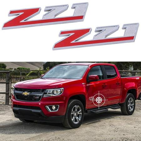 Xotic Tech 2x Sport Red Z71 Chrome Alloy Badge Emblems For Chevrolet Avalanche Silverado Colorado Tahoe Suburban, etc (Chevrolet Avalanche Door)