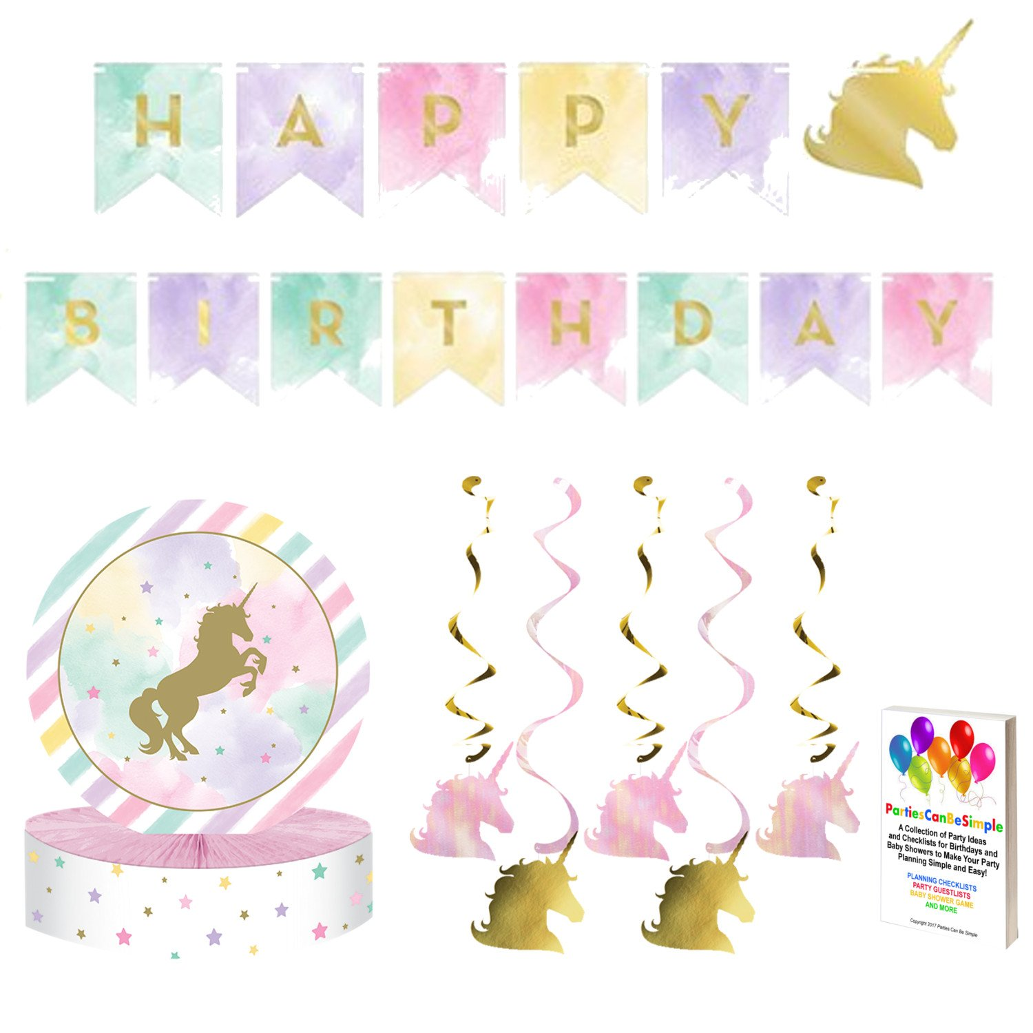 Unicorn Pink and Metallic Gold Sparkle Party Supplies Decoration Kit by Parties Can Be Simple