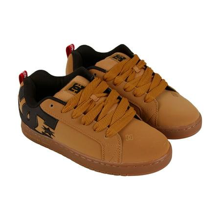 DC Court Graffik Se Mens Tan Leather Sneakers Lace Up Skate (Court Graffik Se Sneaker)
