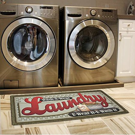 Heavy Duty Vintage Laundry Room Floor Mat w/ Nonslip Rubber Backing by -