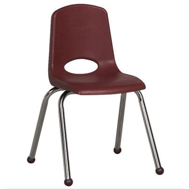 Early Childhood Resource ELR-0195-BY 16 inch School Stack Chair with Chrome Ball Glide Legs - Burdundy