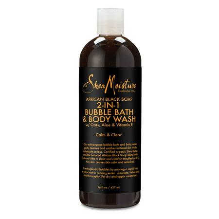 Shea Moisture African Black Soap 2-in-1 Bubble Bath & Body Wash, 16 oz African Black Soap Body Wash