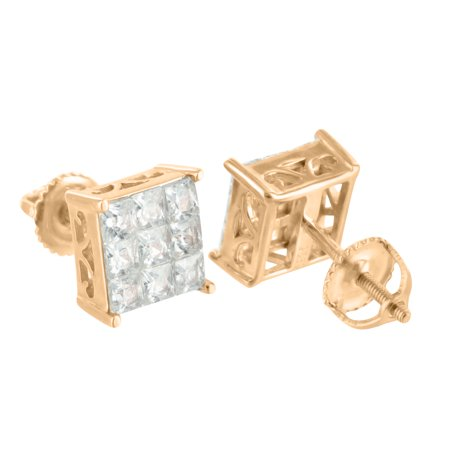 Princess Cut Square Earrings Rose Gold Finish 925 Silver Lab Created Cubic Zirconias Screw On