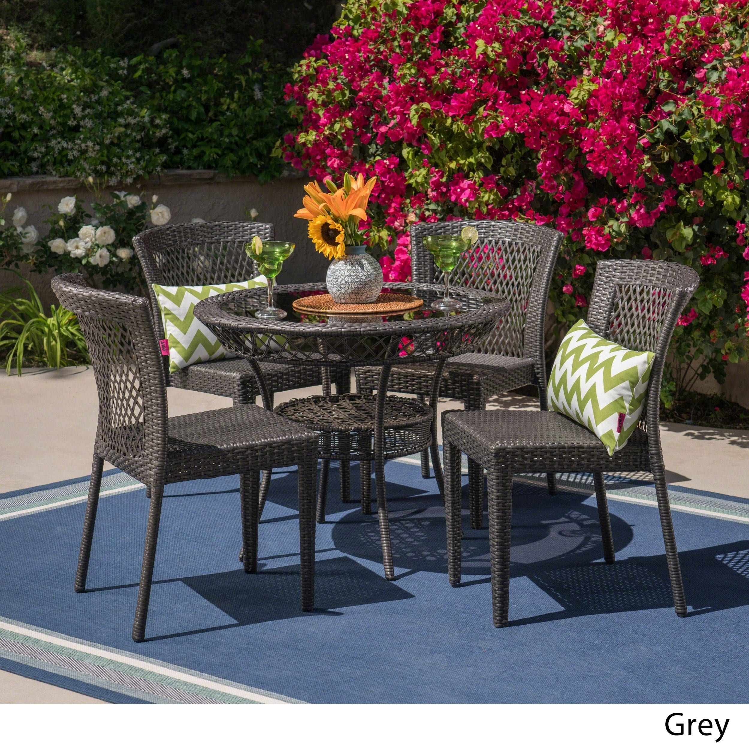 Christopher Knight Home Farley Outdoor 5-piece Wicker Dining Set by