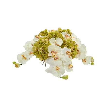 Nearly Natural artificial indoor Phaleanopsis and Hydrangea Artificial Arrangement in Pedestal Urn Cream