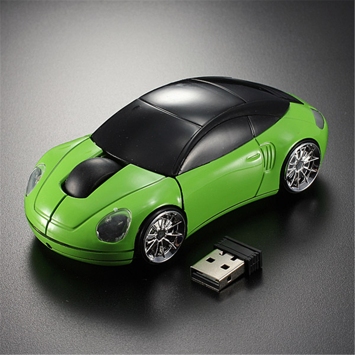 3D Wireless Optical 2.4G Car Shaped Mouse Mice 1600DPI USB For PC laptop ,Pink color