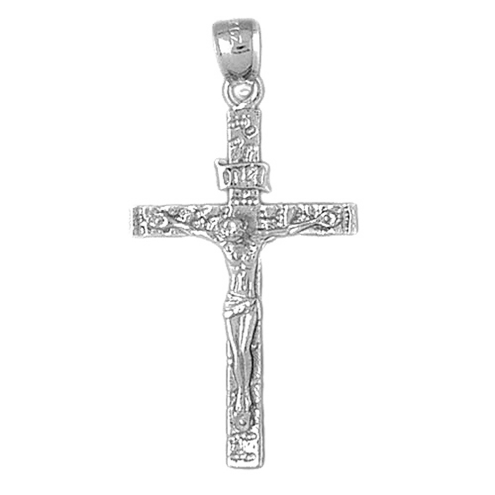 18K White Gold INRI Crucifix Pendant - 43 mm