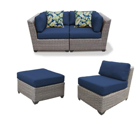 Admirable Set Of 3 Patio Wicker Loveseat And Chair With Ottoman In Navy Alphanode Cool Chair Designs And Ideas Alphanodeonline