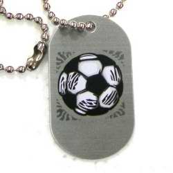 "Necklace-Aluminum-Tag Soccer 18"" Ball Chain"