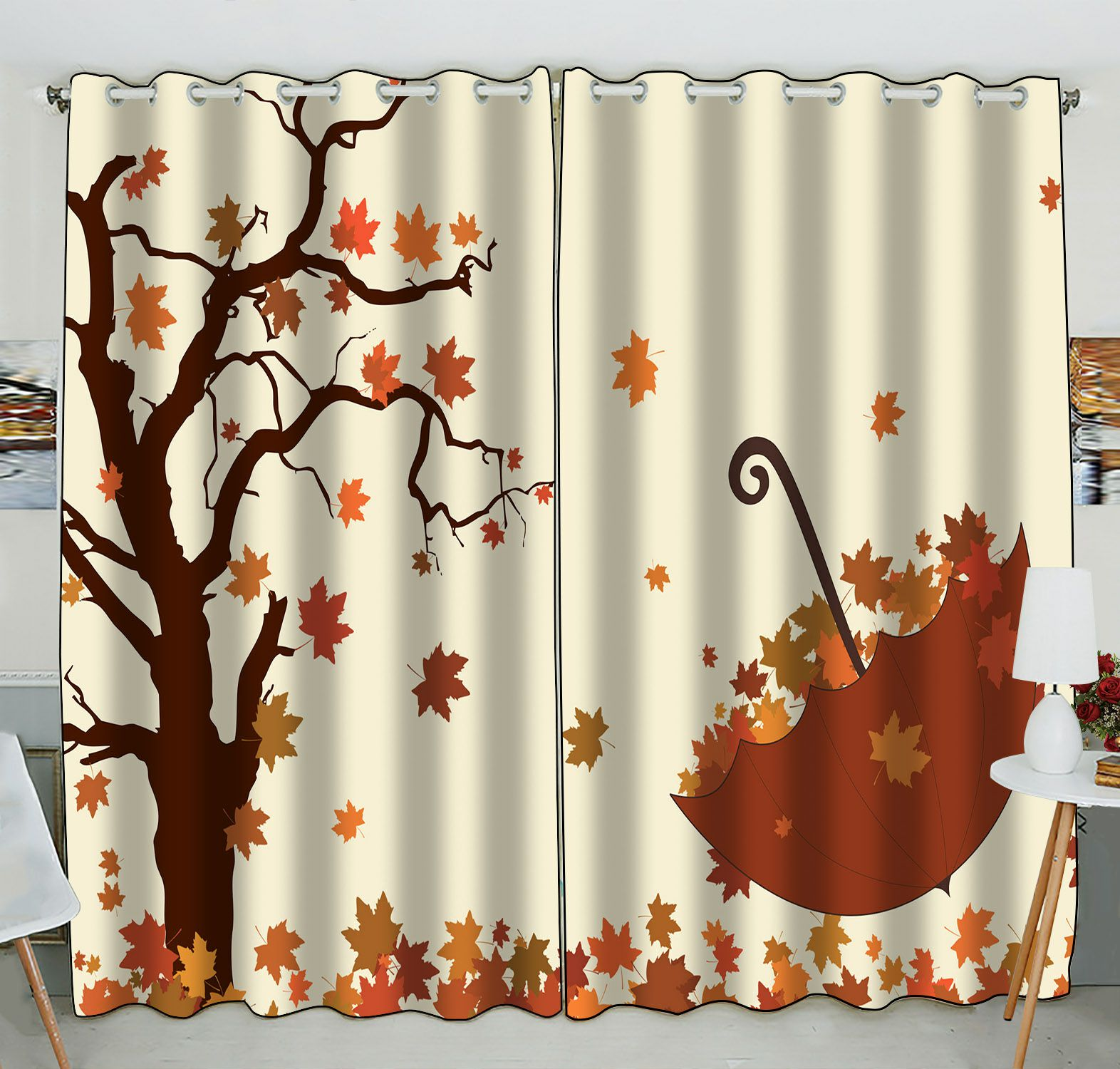 ZKGK Fallen Leaves in Autumn Window Curtain Drapery/Panels/Treatment For Living Room Bedroom Kids Rooms 52x84 inches Two Panel