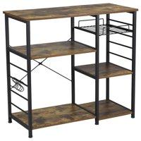 Multilevel Kitchen Stand Trolley Wood Kitchen Storage Shelf with Basket & 6 Hooks, Metal Rustic Brown Short