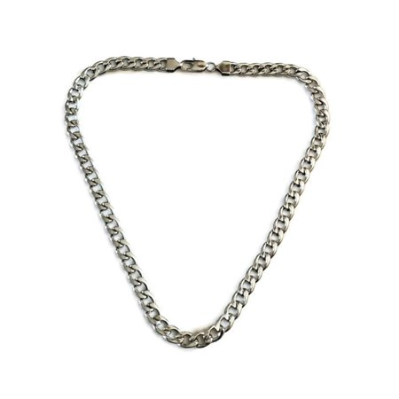 9mm Curb Mens Necklace - Silver Chain Flat Cuban Stainless Steel Jewelry - Neck Link Chains for Men Man Boys Male Heavy Military Old Silver Neck Ring Necklace