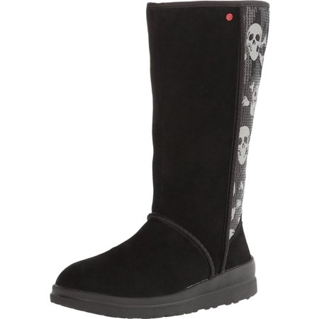 UGG Women's Kisses Tall Black Sequin Skull Suede Boot 5M
