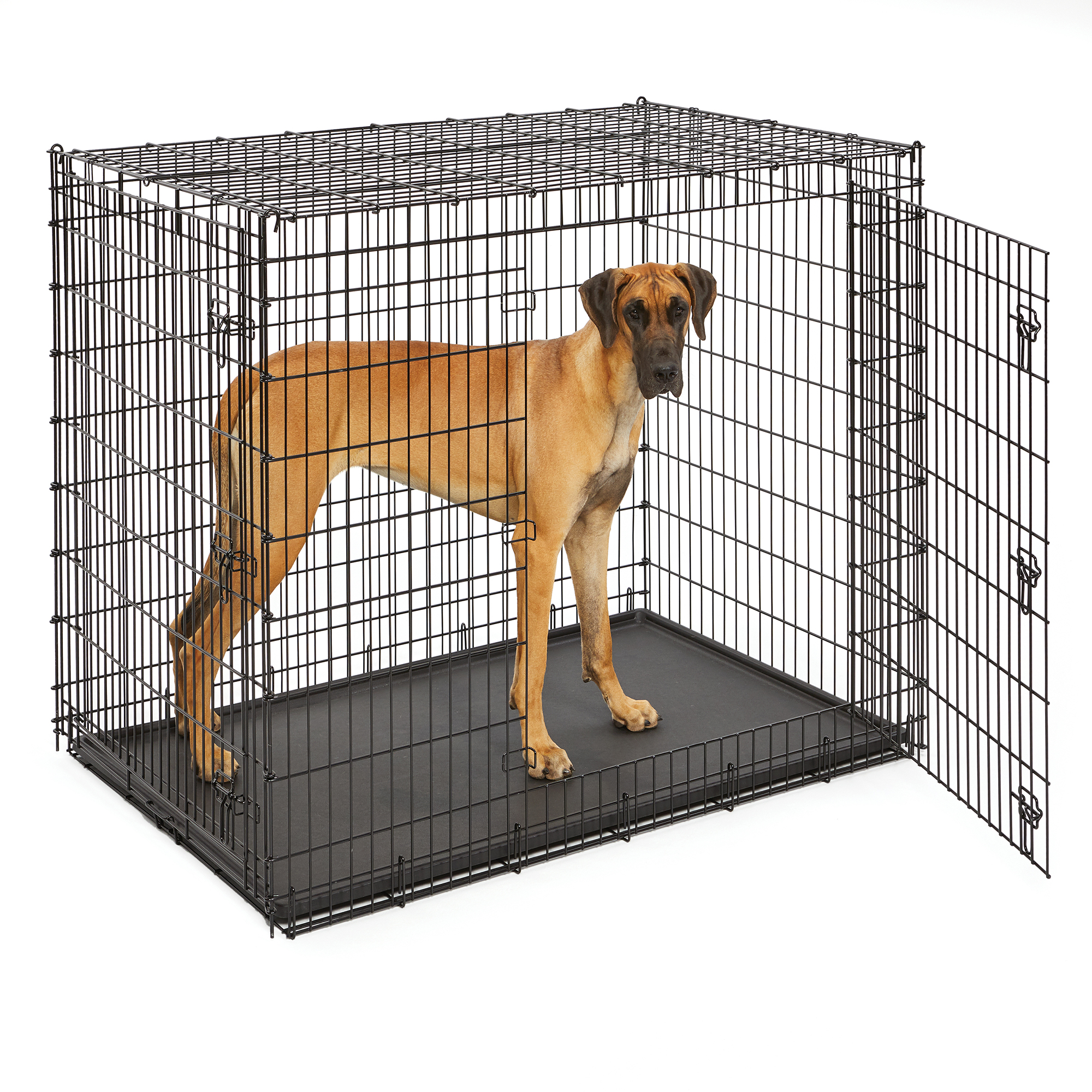MidWest Extra Large Dog Breed (Great Dane) Heavy Duty Metal Dog Crate w/ Leak-Proof Pan, Double Door Giant Dog Crate