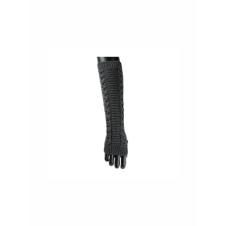 1606-D229 Unisex Thumbhole Fingerless Cable Knit Knitted Gloves (Knitted Fingerless Gloves)