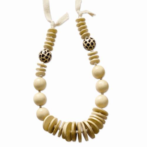 Wood & Acrylic Bead Graduating Fabric Cord Slip-on Necklace