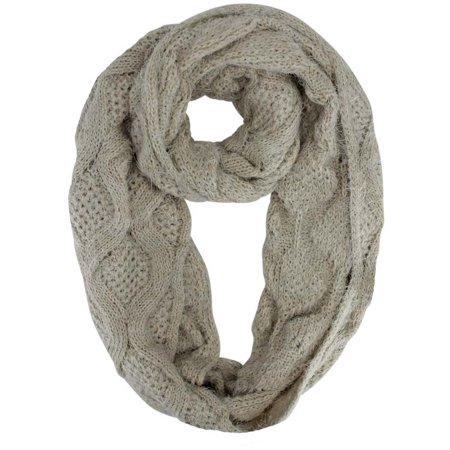 Diamond Knit Plush Fuzzy Eyelash Infinity Circle Scarf