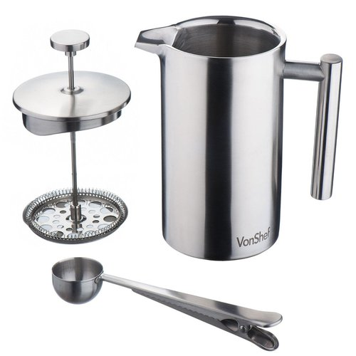 VonShef Stainless Steel French Press Cafetiere Coffee Maker