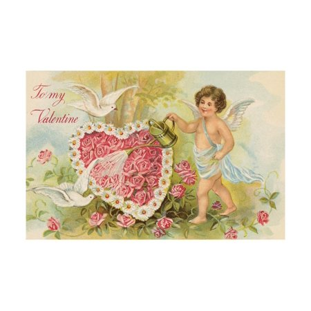 To My Valentine Postcard with Cherub Watering Flowers Print Wall Art