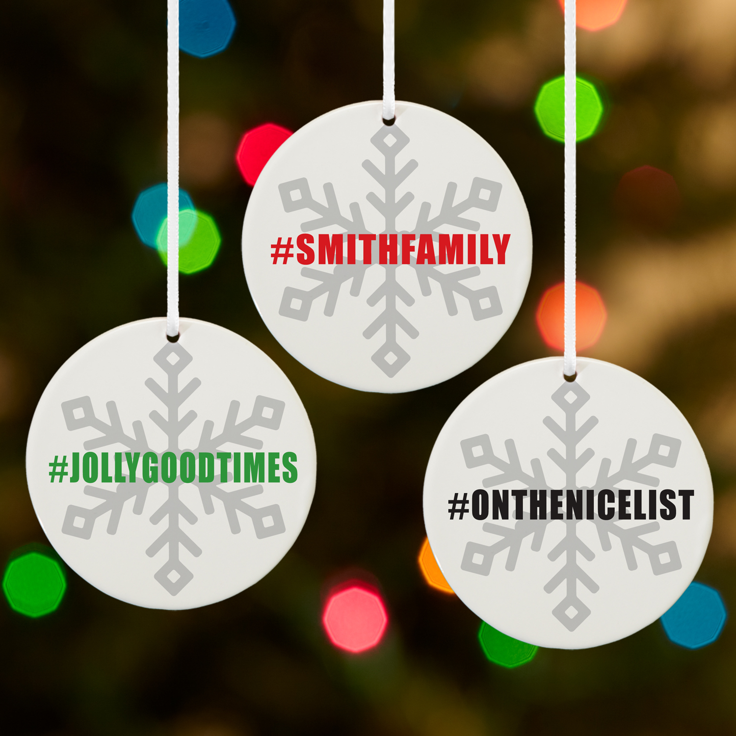Presonalized Hashtag Snowflake Round Christmas Ornament- Available in 3 Colors