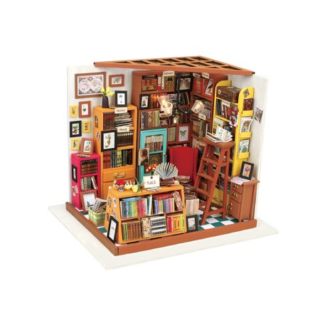Robotime Build Your Own Bookstore Kit - DIY Dollhouse Accessory Addition Room with Working Lights