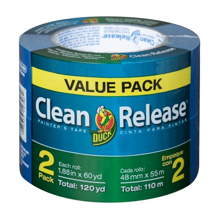 Blue Duck - Duck Brand Clean Release Blue Painter's Tape, 1.88 in. x 60 yd., 2-Pack