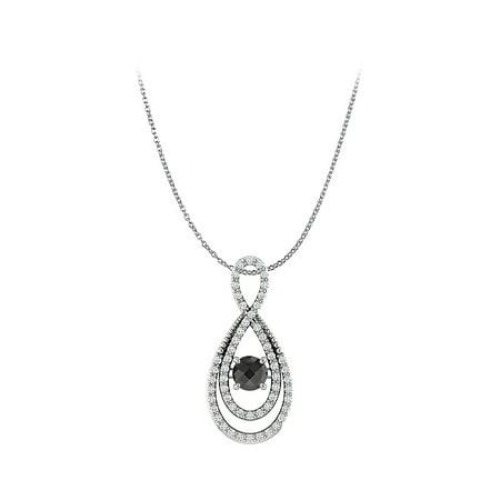 Black Onyx Cubic Zirconia Infinity Pendant 925 Silver - image 2 de 2