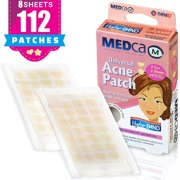 Acne Patch - Pack of 112, Pimple Spot Treatment Hydrocolloid Bandages Absorbing Zit Cover Dots, Heart And Star Shapes by MEDca