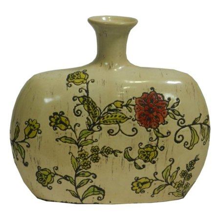 Benzara EN30865 Floral Design Ceramic Vase (Floral Design Ceramic)