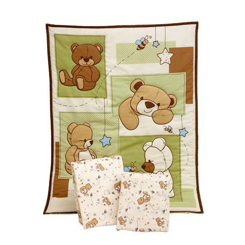 Little Bedding by NoJo Dreamland Teddy 3-piece Portable Crib Bedding Set