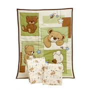 Little Bedding by NoJo Dreamland Teddy 3-piece Mini Crib / Portable Crib Bedding Set