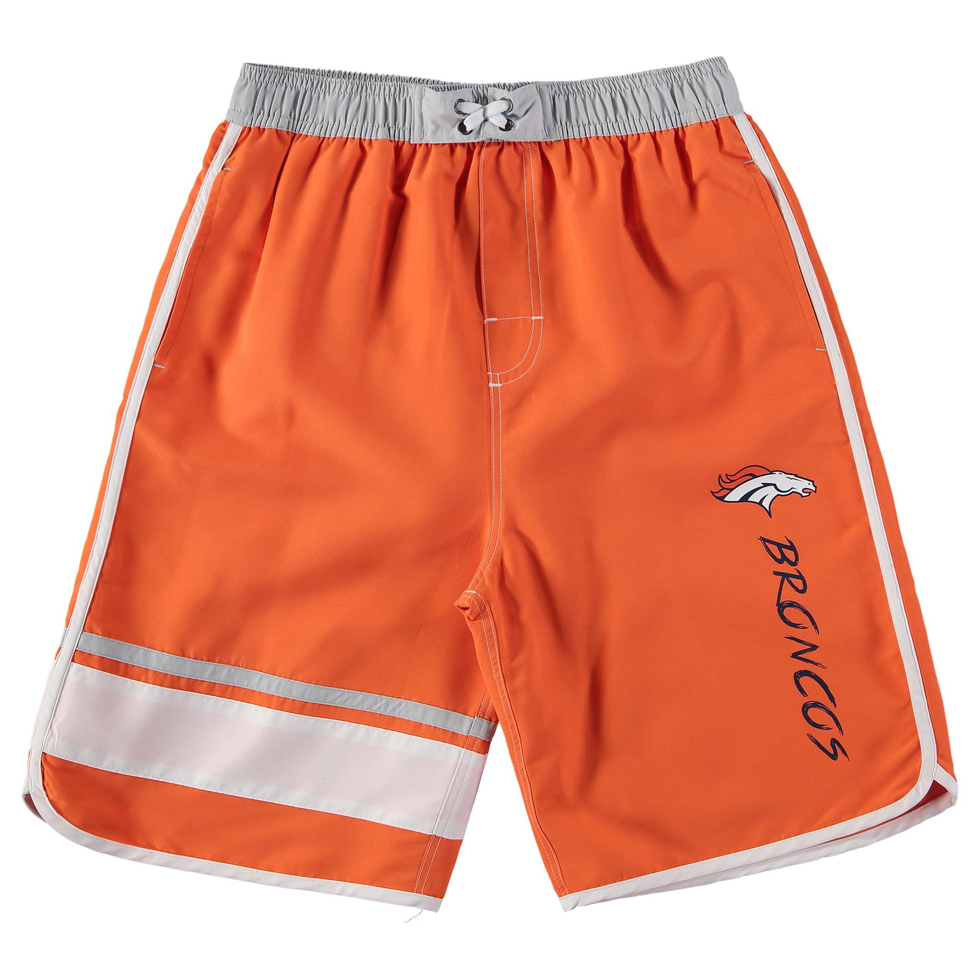 Denver Broncos Youth Color Blocked Swim Trunks - Orange/Gray - Yth XL