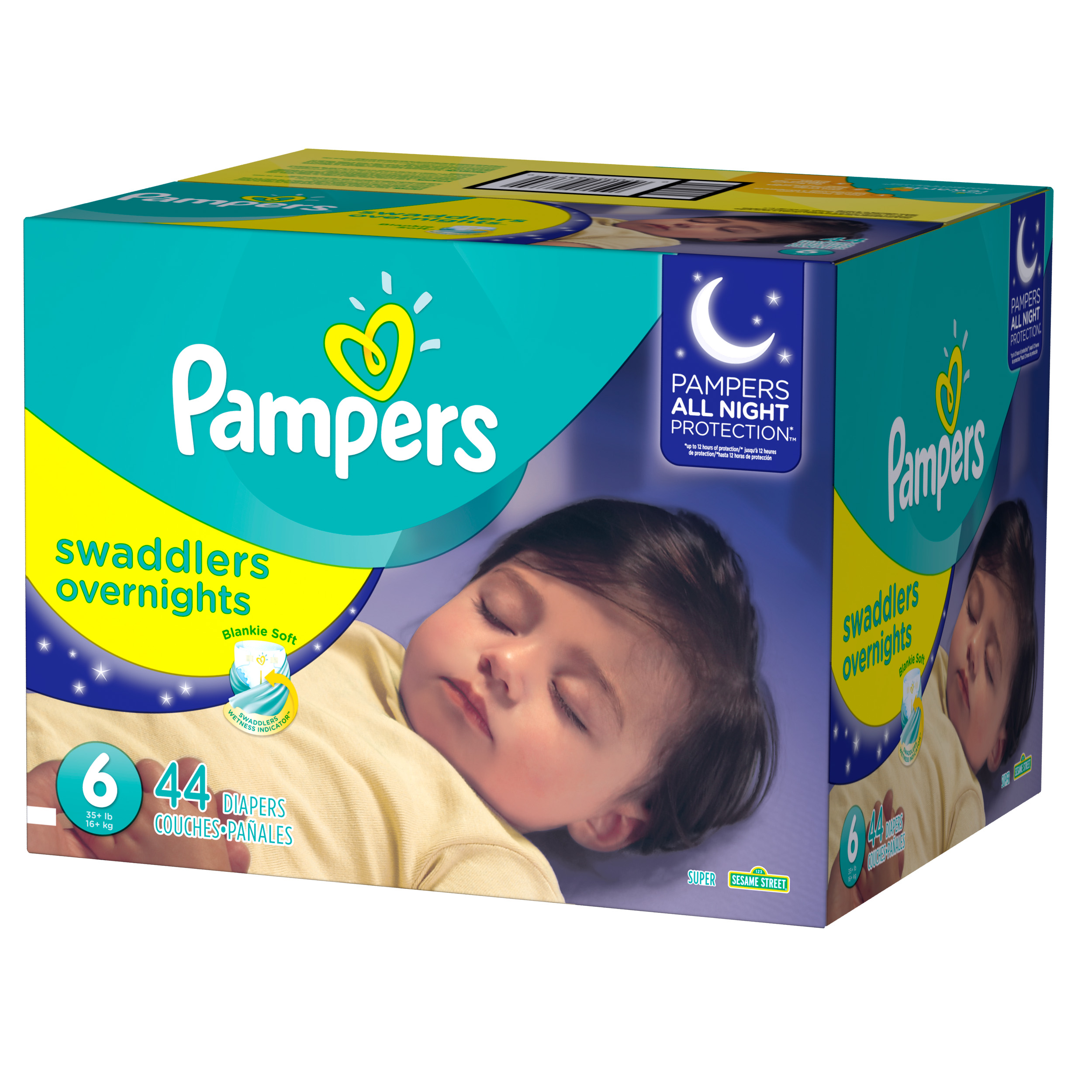 Pampers Swaddlers Overnights Diapers Size 6 44 Count