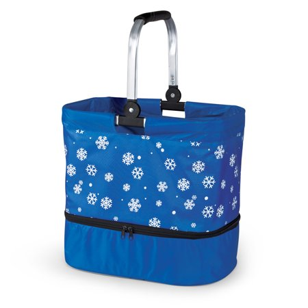 Blue Snowflake Expandable Insulated Food Carrier - On-the-Go Entertainment Essentials, Food & Cassrole Blue Insulated Food Carrier