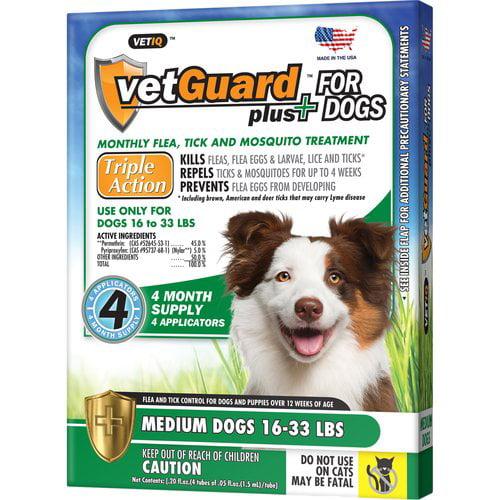 VetGuard Plus for Medium Dogs (16-33 lbs) - 4 Applicators (.05 fl. oz / 1.5 ml E