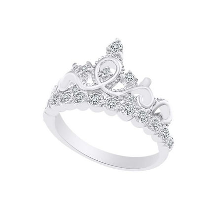 Round Shape White Cubic Zirconia Crown Princess Engagement Ring In 14k White Gold Over Sterling Silver Ring Size-5