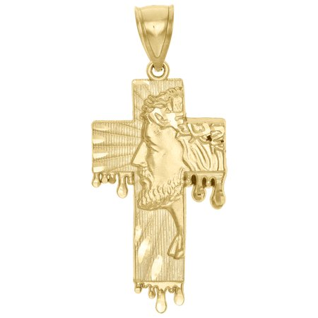 Genuine 10K Yellow Gold Diamond Cut Jesus Face Cross Charm Blood Drip Pendant (Gold Genuine Diamond Cross)