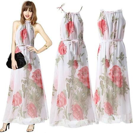 b07e011593 Sexy Chiffon Long sleeveless dress for Women, Maxi Summer Dresses, Women  Boho Evening Party Beach Floral Sundress Size XL - Walmart.com
