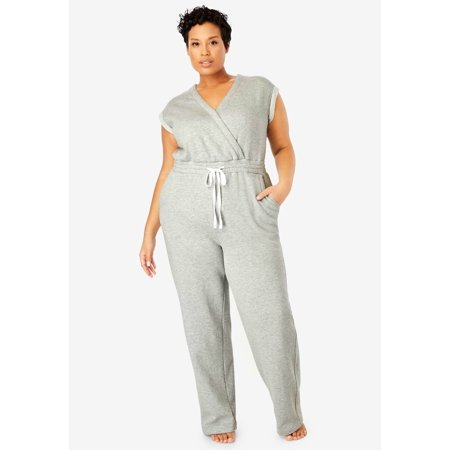 Dreams & Co. Plus Size Surplice Fleece Jumpsuit (Plus Size Jumpsuits For Cheap)