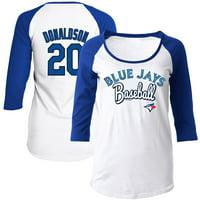 Josh Donaldson Toronto Blue Jays 5th & Ocean by New Era Women's Glitter 3/4-Sleeve Raglan T-Shirt - White/Royal