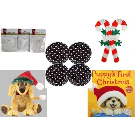- Christmas Fun Gift Bundle [5 Piece] - Brite Star Classic Trims Angel Ornament Set of 3 - Vintage 1960's Kage Co. Melted Popcorn Candy Cane -  Tin Plate/Dish 9