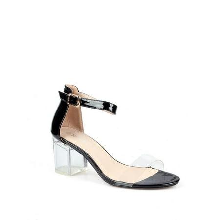Nature Breeze Women's Clear Heel Chunky High Heel Sandals (Clear Sandal)