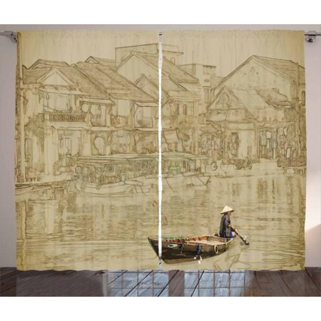 - Vintage Boat Curtains 2 Panels Set, Vietnam Scenery with A Traditional Ship Sailing on River Asian Culture View, Window Drapes for Living Room Bedroom, 108W X 96L Inches, Sepia Beige, by Ambesonne