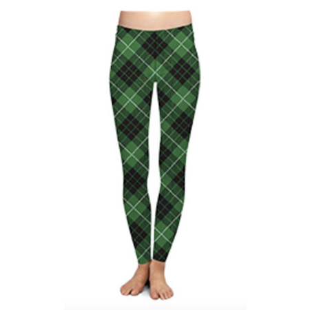 Two Left Feet Lovely St. Patrick's Day Lucky Leprechaun Shamrock Green Irish Leggings (Small/Medium, Off - Lucky Shamrock