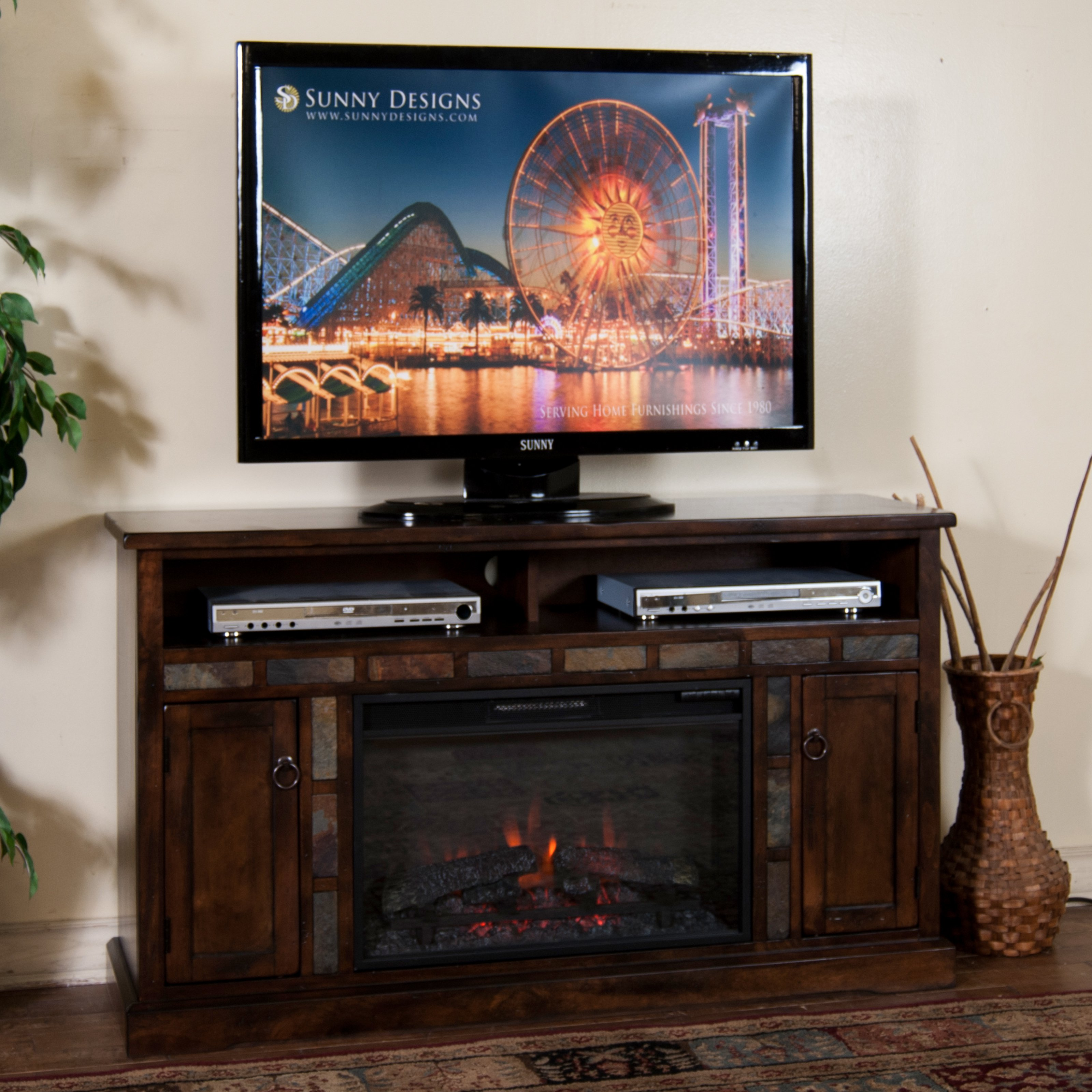 Sunny Designs Santa Fe 54 in. Electric Fireplace Media Console