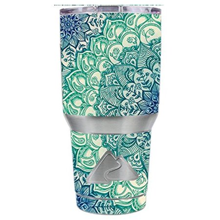 Skin Decal Vinyl Wrap for Ozark Trail 30 oz Tumbler Cup Stickers Skins Cover (6-piece kit) / Teal Green Mandala Pattern