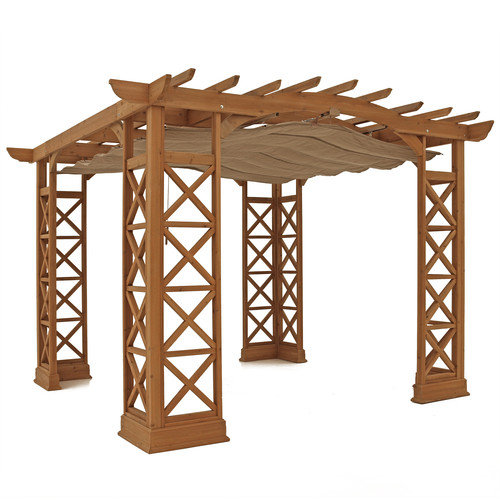 Yardistry Arched Roof 8.2 Ft. H x 12 Ft. W x 13 Ft. Pergola