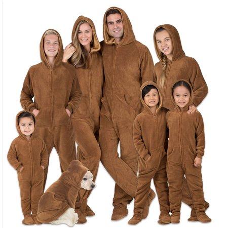 Footed Pajamas - Family Matching Chocolate Brown Hoodie Onesies for Boys, Girls, Men, Women and Pets Brown Boys Pajamas