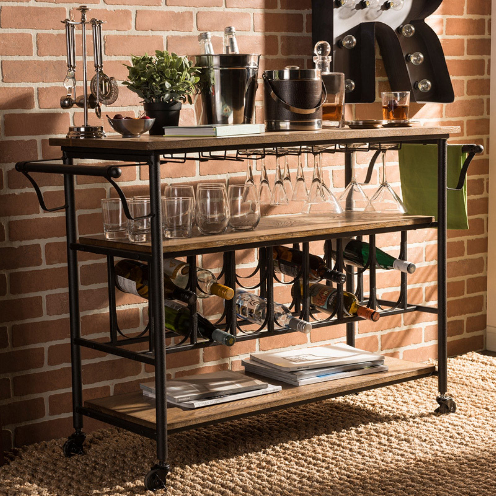 Baxton Studio Bradford Rustic Industrial Kitchen Serving Cart