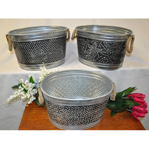 Kindwer 3 Piece Antiqued Metal Tub Set